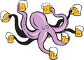 Octopus holding mug of beer tentacles illustration an on on isolated background done in cartoon style Stock Image