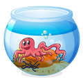 An octopus inside an aquarium illustration of on a white background Stock Photo