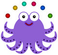 Octopus juggles illustration of an juggling six balls Royalty Free Stock Image