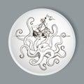 Octopus Kraken attacks the boat Royalty Free Stock Photo