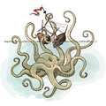 Octopus Kraken attacks the boat Royalty Free Stock Photo
