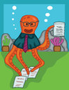 Octopus Manager with Contract Paper Cartoon