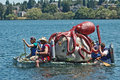Octopus milk carton boat seattle seafair derby races seattle washington people make water craft using cartons for floatation using Stock Photography