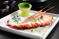 Octopus raw served with lemon sauce Royalty Free Stock Images