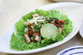Octopus salad spicy with lime and chili Royalty Free Stock Images