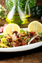Octopus salad with vegetables and beans Royalty Free Stock Images