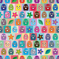 Octopus small colorful symmetry seamless pattern