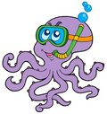 Octopus snorkel diver Royalty Free Stock Image
