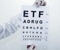 Oculist eyesight test white background Stock Images