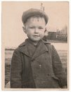 Od soviet black and white portrait photograph of a little boy old photographs Royalty Free Stock Photo