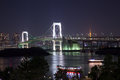 Odaiba night view is a large artificial island in tokyo bay japan across the rainbow bridge from central tokyo it was initially Stock Image