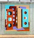 Odd cylindrical wall mural on a bridge underpass on james rd in memphis tn wild and colorful Royalty Free Stock Image