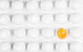 Odd egg out block of sixteen eggs fifteen are undisturbed the last is halved with the yolk sitting the shell shot from above on Royalty Free Stock Photography