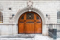 The Odd Fellows wooden entrance door in Stockholm Royalty Free Stock Photo