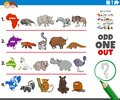 Odd one out picture game with wild animal species Royalty Free Stock Photo