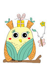 Odd owl card illustration abstract gift butterfly white background Royalty Free Stock Image