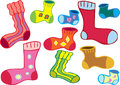 Odd socks a cartoon of several different colored Stock Photography