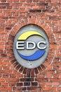 EDC logo on a wall