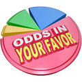 Odds in your favor pie chart advantage competition words on a illustrating the you hold a versus others competiting a game Stock Photo