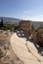 The odeon theater in athens greece dramatic view above ruins of Royalty Free Stock Photos