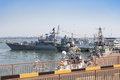 Odesa, Ukraine - July 03, 2016: Battleship HETMAN SAHAYDACHNY docked at Port during celebration day NAVY forces Royalty Free Stock Photo