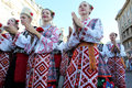 Odessa august men in traditional costumes at the festival nationalities in celebration of independence day of ukraine august in Royalty Free Stock Photography