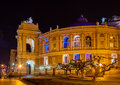 Odessa opera and ballet theater at night ukraine Royalty Free Stock Photography