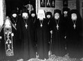Odessa ukraine circa vintage photos of high priests of the holy assumption the patriarchal monastery in the city Royalty Free Stock Photo