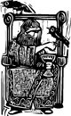 Odin on throne woodcut expressionist style image of the norse god or wotan sitting a with his ravens Royalty Free Stock Photography