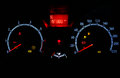 Odometer inside car in night time Royalty Free Stock Photo