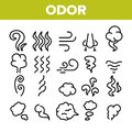 Odor, Smoke, Smell Vector Linear Icons Set