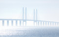 The oeresundsbridge seen from scania sweden between and denmark on a foggy day Stock Photos