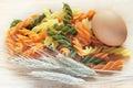 Oeuf, pâtes et blé. Photographie stock libre de droits