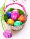 Oeufs de pâques colorés de marbres Images libres de droits