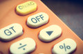 Off Button on old calculator, Royalty Free Stock Photo