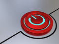 On off button red illustration with glowing blue light Royalty Free Stock Photo