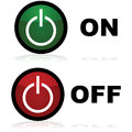 On and off buttons glossy illustration showing in green red respectively Royalty Free Stock Images