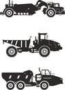 Off-highway trucks. Heavy mining trucks. Vector