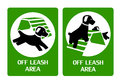 Off leash area signs for dog playground Stock Images