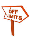Off limits or out of scope banner road sign over white background in orange color concept defining business and other limitations Stock Photo