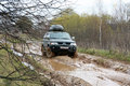 Off road action forest x mud vehicle autumn Stock Images