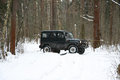 Off-road Action in the forest, 4x4, snow and vehicle Royalty Free Stock Photo