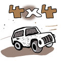 Off road car doodle illustration vector background Stock Photo