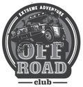 Off-road car logo, safari suv, expedition offroader. Royalty Free Stock Photo