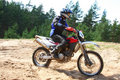 Off-road motorbike in motion. Royalty Free Stock Photography