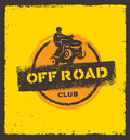 Off Road Park ATV Creative Vector Sign Concept. Extreme Adventure Design Element On Grunge Wall Background