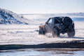 Off road in snow field Royalty Free Stock Photography