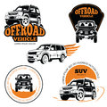 Off-road vehicle labels or logos set isolated on white background