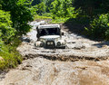 Off road vehicle uaz of team sochi russia august during annual natural selection in the mountain show on august in sochi Royalty Free Stock Photos