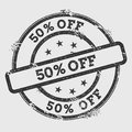 50% off rubber stamp isolated on white background.